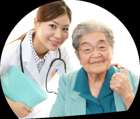 elder with nurse